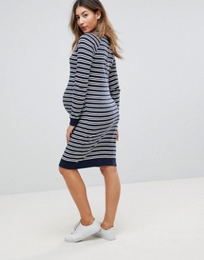 photo Striped Dress with Bird Embroidery by Mama.licious, color Navy/White - Image 2