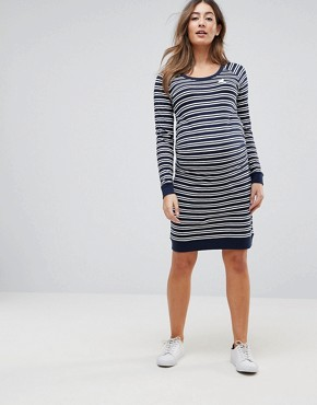 photo Striped Dress with Bird Embroidery by Mama.licious, color Navy/White - Image 1