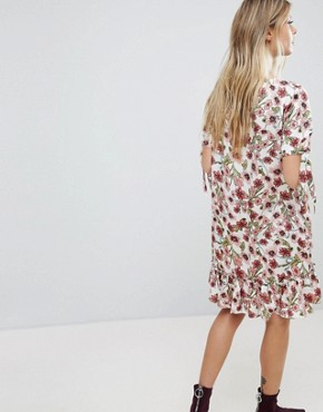 photo Floral Floral Printed Frill Hem Dress by Vila, color Multi - Image 2