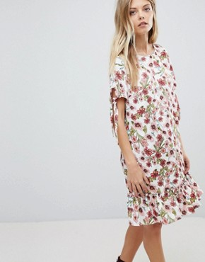 photo Floral Floral Printed Frill Hem Dress by Vila, color Multi - Image 1