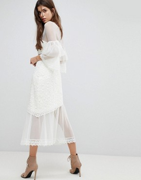 photo Midi Dress with Fluted Overlay Sleeve by Three Floor, color Off White - Image 2