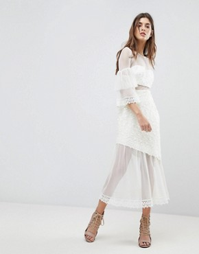 photo Midi Dress with Fluted Overlay Sleeve by Three Floor, color Off White - Image 1