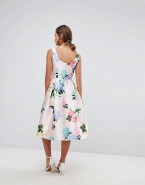 photo Printed Satin Midi Prom Dress by Chi Chi London, color Multi Floral - Image 2