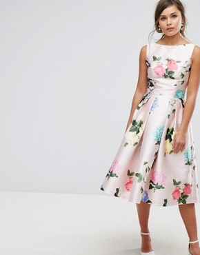 photo Printed Satin Midi Prom Dress by Chi Chi London, color Multi Floral - Image 1