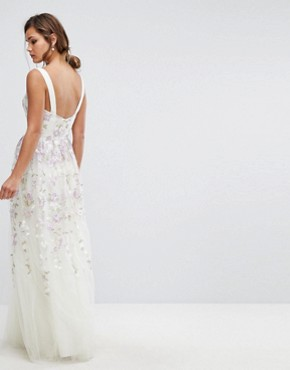 photo Tulle Maxi Dress with Floral Embroidery by Chi Chi London, color Ivory Multi - Image 2