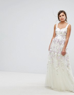 photo Tulle Maxi Dress with Floral Embroidery by Chi Chi London, color Ivory Multi - Image 1