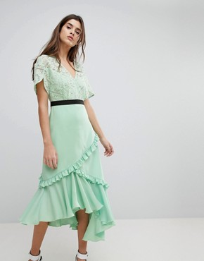 photo Midi Dress with Lace Bodice by Three Floor, color Spring Green - Image 1