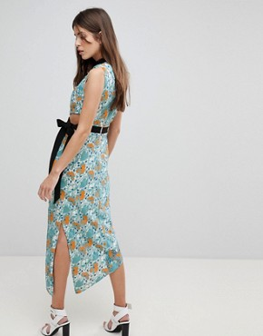 photo Midi Dress with Tie Detail by Three Floor, color Multi - Image 2