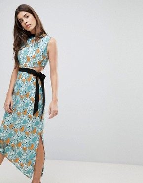 photo Midi Dress with Tie Detail by Three Floor, color Multi - Image 1