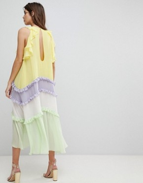 photo Tiered Midi Dress with Frill Detail by Three Floor, color Multi - Image 2