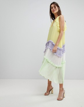 photo Tiered Midi Dress with Frill Detail by Three Floor, color Multi - Image 1