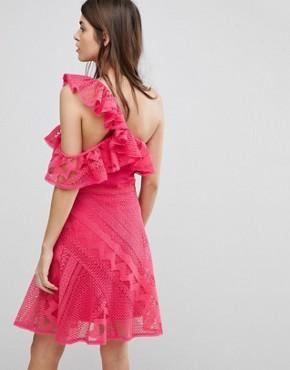 photo One Shoulder Frill Lace Dress by Three Floor, color Camelia Rose - Image 2