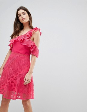 photo One Shoulder Frill Lace Dress by Three Floor, color Camelia Rose - Image 1