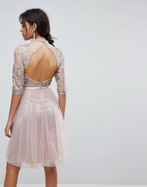 photo High Neck Tulle Midi Dress with Cut Out Back Detail by Chi Chi London, color Mink - Image 2