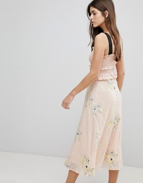 photo Midi Dress with Frill Detail by Three Floor, color Blush - Image 2