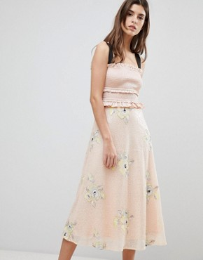 photo Midi Dress with Frill Detail by Three Floor, color Blush - Image 1
