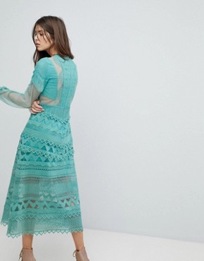photo Lace Midi Dress with Bell Sleeves by Three Floor, color Sage Green - Image 2