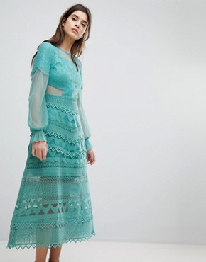 photo Lace Midi Dress with Bell Sleeves by Three Floor, color Sage Green - Image 1