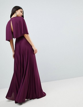 photo Cape Pleated Lace Insert Maxi Dress by ASOS, color Berry - Image 2