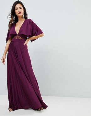 photo Cape Pleated Lace Insert Maxi Dress by ASOS, color Berry - Image 1
