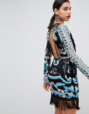 photo Heavy Crochet Dress with Statement Shoulders by A Star Is Born, color Multi - Image 2