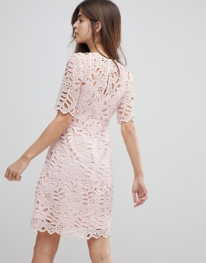 photo Floral Lace Dress by Warehouse, color Light Pink - Image 2