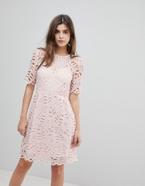 photo Floral Lace Dress by Warehouse, color Light Pink - Image 1