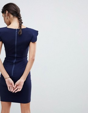 photo Pencil Dress with Scallop Sleeve by Vesper, color Navy - Image 2