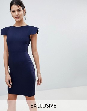 photo Pencil Dress with Scallop Sleeve by Vesper, color Navy - Image 1