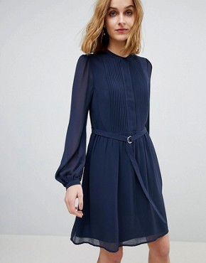 photo Blouson Sleeve Belted Chiffon Shirt Dress by Warehouse, color Navy - Image 1