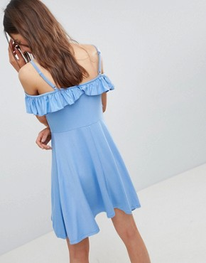 photo Cold Shoulder Skater Sundress with Ruffle by ASOS, color Chambray - Image 2