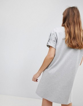 photo Rolled Sleeve T-Shirt Dress with Tab by ASOS ULTIMATE, color Grey Marl - Image 2