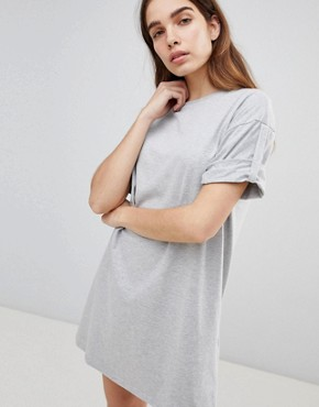photo Rolled Sleeve T-Shirt Dress with Tab by ASOS ULTIMATE, color Grey Marl - Image 1
