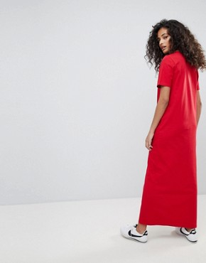 photo T-Shirt Maxi Dress in Colour Block by ASOS ULTIMATE, color Pink/Red - Image 2