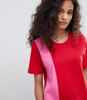 photo T-Shirt Maxi Dress in Colour Block by ASOS ULTIMATE, color Pink/Red - Image 3