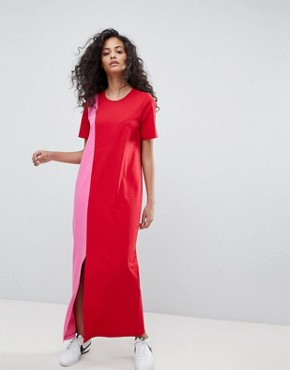 photo T-Shirt Maxi Dress in Colour Block by ASOS ULTIMATE, color Pink/Red - Image 4