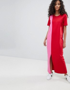 photo T-Shirt Maxi Dress in Colour Block by ASOS ULTIMATE, color Pink/Red - Image 1