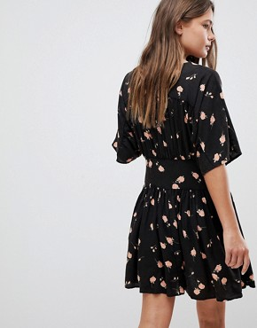 photo Casual Mini Tea Dress in Washed Dark Floral Print by ASOS ULTIMATE, color Multi - Image 2
