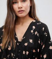 photo Casual Mini Tea Dress in Washed Dark Floral Print by ASOS ULTIMATE, color Multi - Image 3