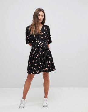 photo Casual Mini Tea Dress in Washed Dark Floral Print by ASOS ULTIMATE, color Multi - Image 4