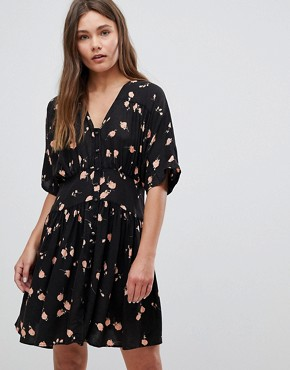 photo Casual Mini Tea Dress in Washed Dark Floral Print by ASOS ULTIMATE, color Multi - Image 1