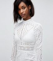photo High Neck Cutwork Lace Mini Skater Dress by Lioness, color White - Image 3