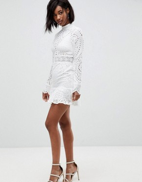 photo High Neck Cutwork Lace Mini Skater Dress by Lioness, color White - Image 4