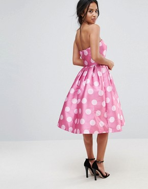 photo Structured Bandeau Midi Dress in Polkadot by Chi Chi London Petite, color Pink Polka - Image 2