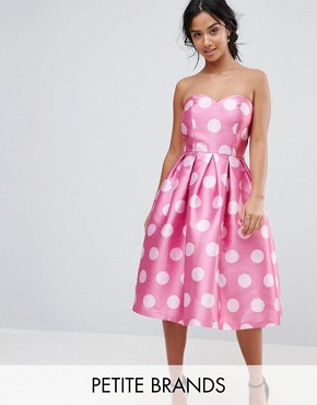 photo Structured Bandeau Midi Dress in Polkadot by Chi Chi London Petite, color Pink Polka - Image 1