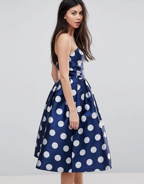 photo Structured Bandeau Midi Dress in Polkadot by Chi Chi London Tall, color Navy Polka - Image 2
