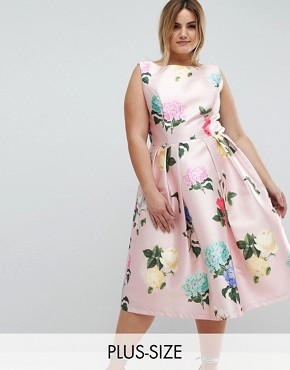 photo Printed Satin Midi Dress by Chi Chi London Plus, color Multi Floral - Image 1