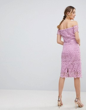 photo Lace Bandeau Midi Dress with Sweetheart Neck by Chi Chi London Tall, color Pale Pink - Image 2