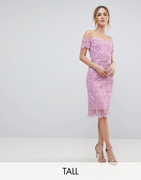 photo Lace Bandeau Midi Dress with Sweetheart Neck by Chi Chi London Tall, color Pale Pink - Image 1