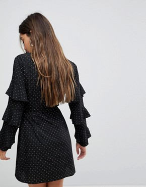 photo Wrap Dress in Spot Print with Ruffle Sleeves by Fashion Union, color Black Spot - Image 2